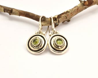 Peridot earrings, sterling silver short  dangle earrings small gemstone earrings, peridot jewelry, August birthstone, rustic vintage style