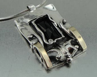 Sterling Silver 925 and 9K Yellow Gold pendant , Handcrafted square pendant turquoise stone ,gift , christmas (ms 353p)