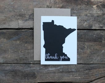 Minnesota Calligraphy State Thank You Greeting Cards with Envelopes / Wedding / Shower / Engagement / Set of 10