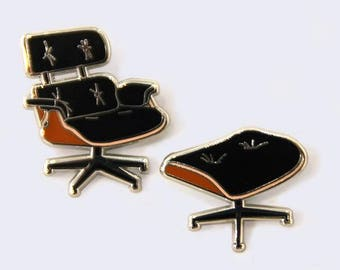 Eames Lounge Chair and Ottoman Enamel Pins