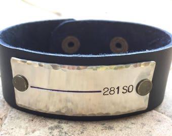 Blue Line Bracelet, Blue Line Jewelry , Men's Bracelet, Father's Day,  Personalized Leather Bracelet, Hand Stapmed Leather Bracelet