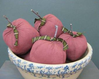 Primitive Apple Bowl Fillers - Set of 5 - Grungy Fabric Apples - Country Primitive Home Decor - Cupboard Tucks - Fruit Centerpiece