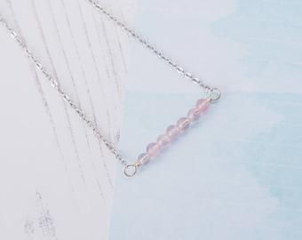 Rose Quartz Choker, Beaded Choker, Rose Quartz Necklace, Gemstone Choker, Handmade Jewellery, Pretty Choker, Boho Choker, Cute Choker