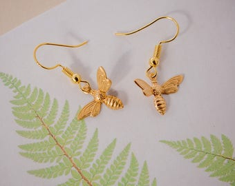 Bee Earrings, Gold Bee Earrings, Bee Drop Earrings, Bee Charm Earrings, Bee Jewellery, Bumble Bee Earrings, Honey Bee Earrings