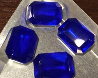 SPECIAL Vintage Cobalt Blue Octagon Rhinestones 18x13mm QTY - 4