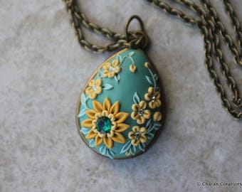 Lovely Polymer Clay Applique Statement Pendant Necklace in Teal and Yellow