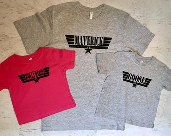 Father's Day Daddy and Baby Matching shirts Maverick Hollywood and Goose Heather Grey printed in Black