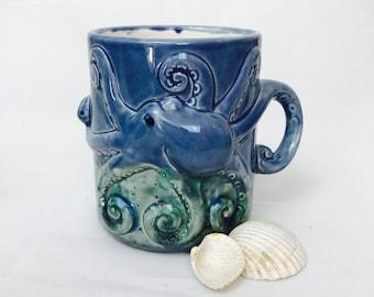 Octopus Coffee Mug, Fan Favorite, Birthday Gift, Octopus-Decor-Gifts, Coffee Mug, Octopus Mug, Handmade from my Charleston, SC Studio