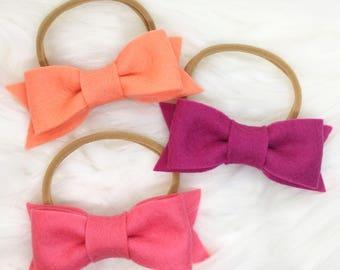 Pink hair bow, felt bow, felt hair bow, girls bow, hair bow, felt hair accessory, hair accessory, baby hair bow