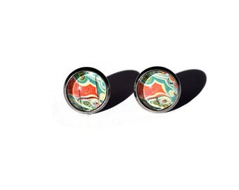 Vintage Agate Postage Stamp Stud Earrings, Gift for Her, Geology, Stainless Steel Studs, Red, Green, Favors, Mineralogy, Rock Nerd