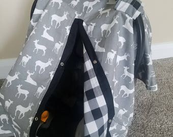 Car seat Canopy Grey Buck Plaid carseat canopy / car seat cover / car seat tent / infant car seat / nursing cover