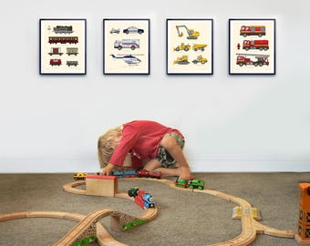 Toddlers room decor, Transportation print set, Airplanes, Fire Trucks, Train Decor, Nurser wall decor, Boys wall decor, best selling items