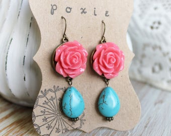 Turquoise Gem Stone Earrings - Turquoise Jewelry - Turquoise Earrings - Pink Rose Earrings For Her - Blue Earrings - Boho Earrings Pink