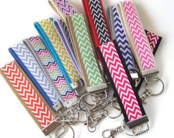 Keychains for Women- Mini KEY FOB- Chevron Key Fob- Womens Key Ring- Womens Wristlet Key Fob- Womens Gift for Her Under 10- Grad Gift Idea