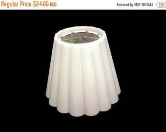 40% OFF NOW Vintage Plastic Fluted Lampshade, Scalloped Plastic Lampshade,  White Plastic Lampshade, Vintage Clip On Lampshade, Boudoir Lamp