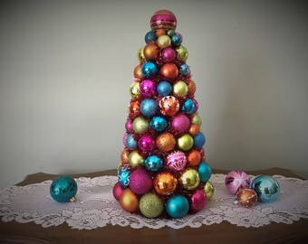 "Christmas TABLE TOP Tree 17"" Shatterproof Bright COLORFUL Christmas Decor"
