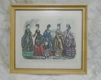 Vintage Godey's Fashion Print-Framed under Nonglare Glass-December 1870-Godey's Print-GFodey's Fashionss-Fashion Print-Nicely Framed