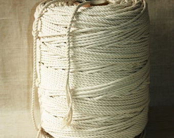 50 % DISCOUNT - SUPER SALE 6 mm Cotton Rope = 1 Spool = 500 Meters = 546 Yards of Natural and Elegant Cotton Twisted Cord