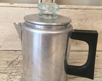 Vintage Comet Stovetop Percolator Coffee Pot - Tiny 2 Cup Size - Aluminum Coffee Pot with Bakelite Handle