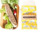 Sandwich Wrap with Food-Safe Nylon Lining - Yellow Zebra