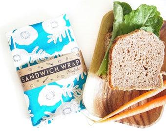 Sandwich Wrap met voedsel-veilig Nylon voering - Blue Floral