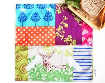 Sandwich Wrap with Food-Safe Nylon Lining - Echino Deer