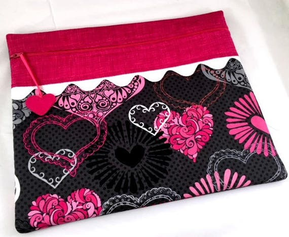 Valentine Bright Hearts Cross Stitch Embroidery Project Bag