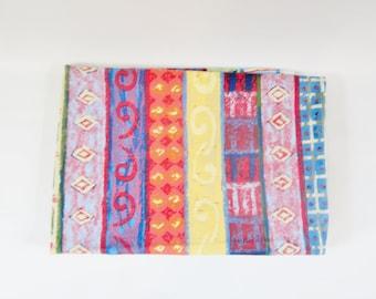 Vintage Flat Sheet GEOMETRIC TRIBAL Vibrant Colors STRIPES Twin Size 1990s Vintage New Stock