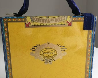 Yellow Cigar Box Hand Bag with French style tolie custom fabric lining