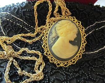 Cinerart Cranston Pendant Cameo Necklace, Gold Tone Chain