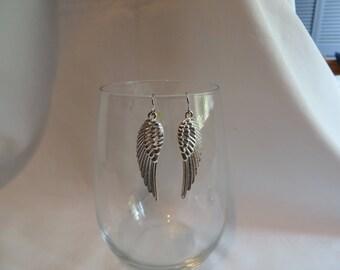 Silver Angel Wing Earrings, earrings, dangle, silver, wing, angel