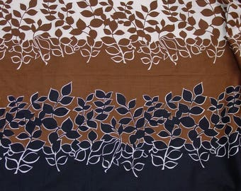 """Vintage Fabric Gorgeous Cotton Print, Modern Leaves, Rich Colors 3 Yards 33"""", 34 1/2"""" Wide"""