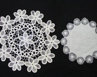 """2 Vintage Antique Doilies, White, Elegant, Hand Made Needlework 11 3/4"""" and 8 1/2"""""""