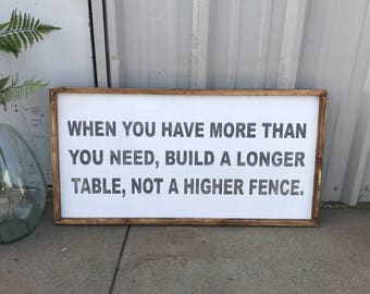 When you have more than you need build a longer table not a higher fence, 18x36, Framed Wood Sign