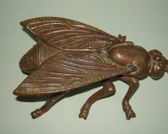 Vintage Old INSECT BUG FLY Ashtray Cointray - ornate design open top metal