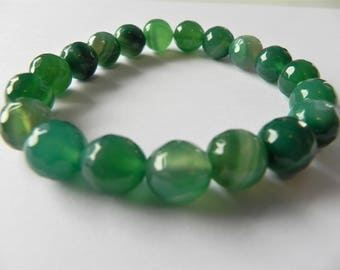 Green banded agate gemstone stretch bracelet