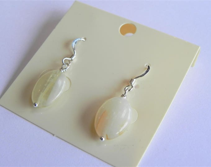 Yellow afghan jade oval gemstone sterling silver drop earrings