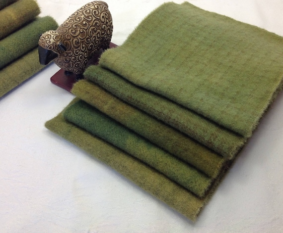 5) fat 1/16ths, Summery greens, Hand dyed wool fabric for Rug Hooking and Applique, W356, Mottled Greens, Leaf Greens, Grass Greens