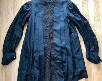 Victorian 1890s Black Pleated Tunic Lined XL Jacket