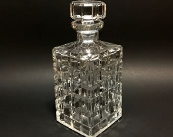 Vintage Cut Lead Crystal Whiskey Decanter, rectangular, square cuts, mid century c1950,
