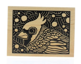 Inkadinkado Nature Cardinal Bird Bold Blockprint Wooden Rubber Stamp