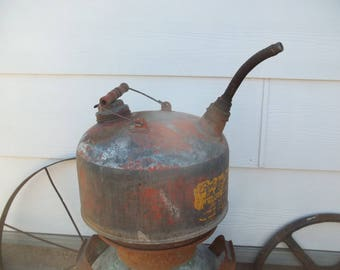Rustic Vintage • Red Painted Galvanized Gasoline Can | Kerosene 2 1/2 Gallon Cabin Country Farm Folk Farmhouse Shabby Americana | USA