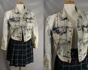 1980s Acid Washed Jacket. vintage 80s Denim Jacket. Womens Cropped Jacket. Stonewashed Jean Jacket. Blue Jean Jacket. Crayon Jacket. size S