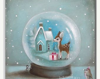 On Sale Christmas Cards, Cute holiday card, Snow globe Christmas Card, woodland, xmas card, unique christmas card, with envelope