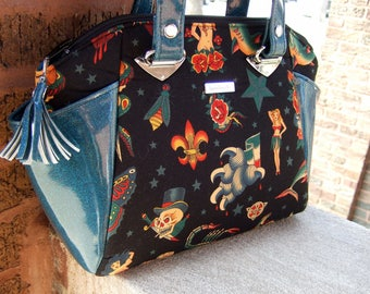 Traditional Tattoo Print Handbag / Structured Purse / Rockabilly / Sailor Jerry / Swoon Annette / Alexander Henry Tattoo