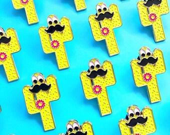 Cactus Enamel Pin with a Moustache & Googly Eyes | In Cognito Enamel Pin | Cacti Enamel Pin Badge | Kawaii Pins | Funny Enamel Pin