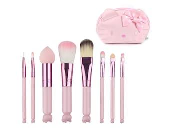 FREE SHIPPING 3D Kitty Mini Makeup Brushes & Bag 8Pc Set