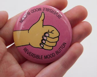 Vintage Thumbs Up or Thumbs Down Reversible Mood Button Dr5