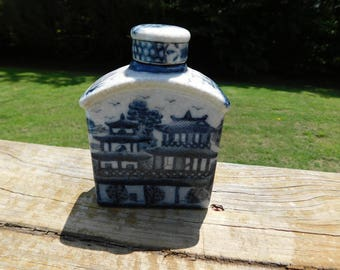 Vintage Flow Blue Chinese Whiskey Bottle or Flask ?  box q