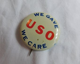 Vintage Metal Homefront Button Pin USO Dr43